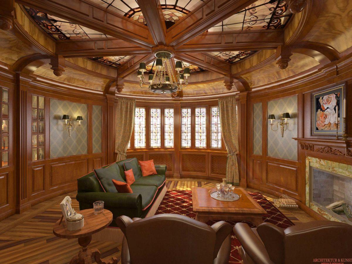 Exklusive Whisky-Lounge aus edlem Holz